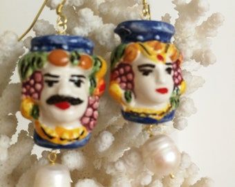 Caltagirone earrings, white and silver pearls, Sicilian earrings