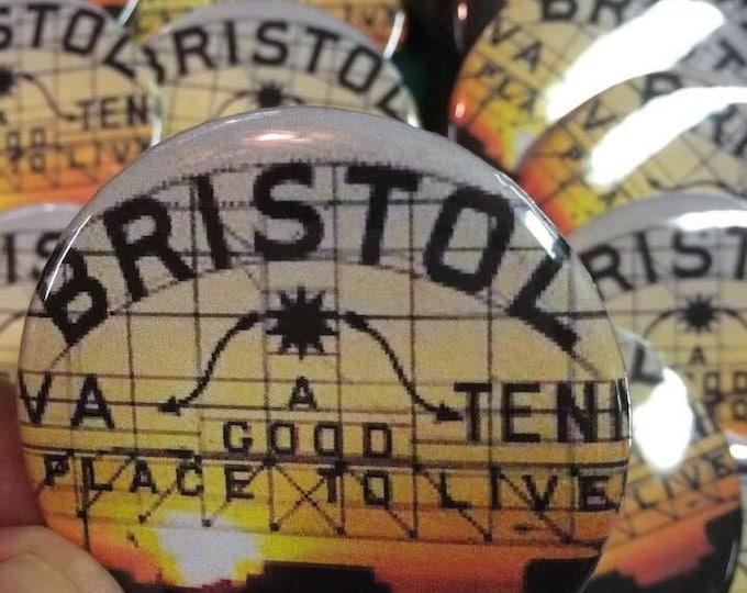 """2.25"""" Bristol button, Bristol pin, pin-back briston button, bristol va/tn button, bristol sign button, status graphics"""