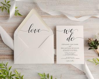 Modern We Do Calligraphy Wedding Invitation Suite, Custom, Traditional, Envelope Liner, Initials,  Made To Order   Deposit