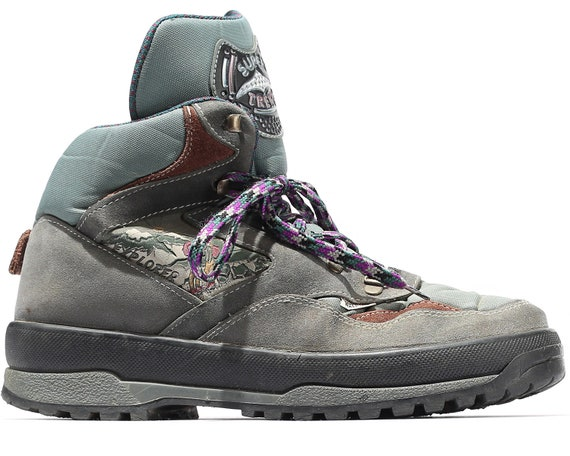 Mountain UK 8 Gray Top Boots mens 42 Hi US Sneakers Trekking Mountain 5 Nylon Distressed Fit Boots Suede Faded Eur made 8 80s Italy Wide 7n06xg