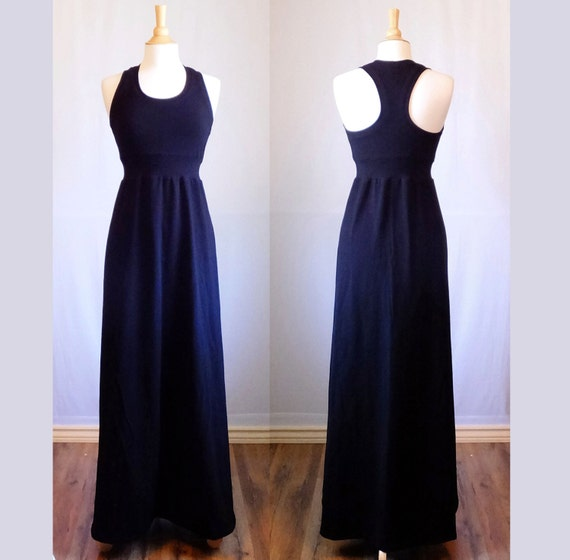 Black Maxi Dress Racer back floor length dress cotton jersey knit scoop neck empire waist ankle length racerback tank dress womens clothing