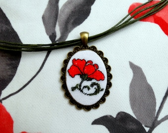 """Micro embroidered pendan Handmade jewelry """"The Scarlet Flower"""" Embroidered cabochon, Cross Stitch Pendant, Birthday gift, Mother's day gift"""