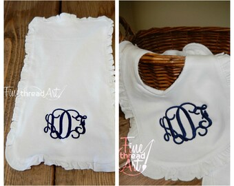 Monogram Ruffle Bib and Burp Cloth Set in White for Infant Baby Girl Shower Gift Baptism Dedication Gender Revea