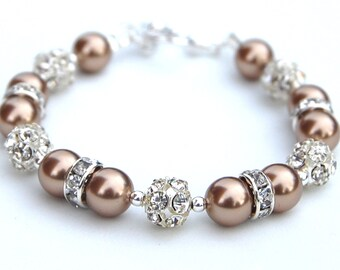 Bridesmaid Jewelry, Bronze Pearl Rhinestone Bracelet, Bridesmaid Presents, Winter Wedding, Mother of the Groom Bracelet, Wedding Party Gifts