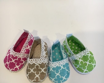 Clover Canvas shoes made to fit 18 inch dolls such as American Girl dolls and similar size dolls.