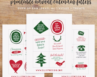 Printable Advent Calendar Fillers and Inserts - Advent Calendar Kids - Advent Calender DIY - Advent Printable - Instant Download