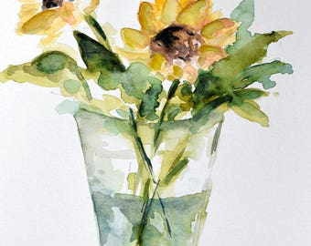 Original Watercolor Painting, Sunflowers in a Glass Vase Painting, Yellow Flowers 6x8 Inch