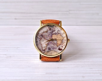 World map watch etsy world map watch travel her gift for women wanderlust graduation gift gumiabroncs Image collections