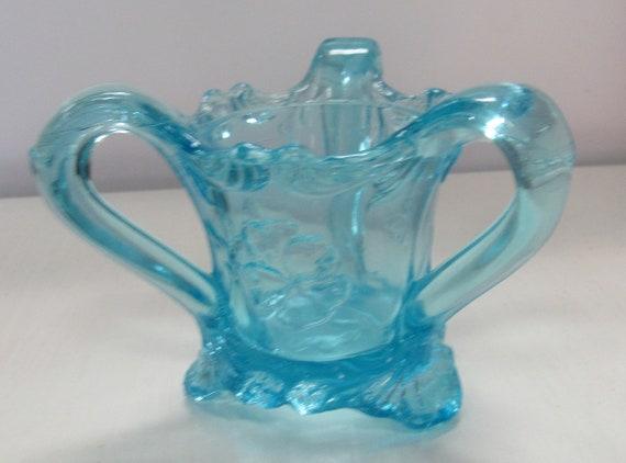 Aqua blue toothpick holder carnival glass