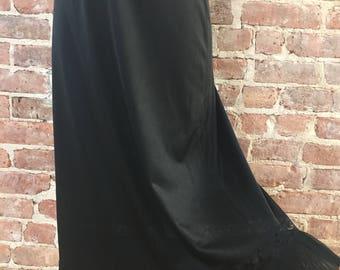 Size S - 1960s Longer Black Slip - Semi Sheer Slip - Vintage Half Slip - Permanent Pleats - Boudoir