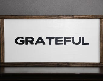 Grateful sign wood | Autumn wood sign | Fall signs wood farmhouse | Ready to hang wall art | Wooden signs for home | Custom wood sign