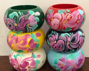 Hand Painted Floral Wood Napkin Ring Tableware Set of 6