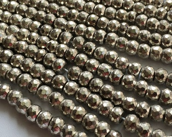 Silver Pyrite Beads, Silver Pyrite Faceted Rondelles, Pyrite Necklace, 7.5mm Beads, 8 Inch Strand, 35 Pcs, Pyrite Wholesale