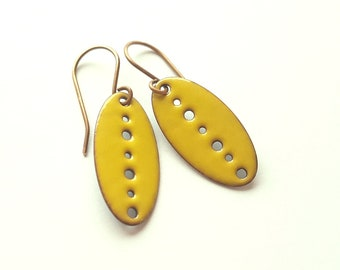 Sunny Yellow Enamel Earrings - Copper Dangle Earrings - Lightweight Oval Drop Earrings