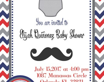 personalized baby shower little man invitation digital file print as many as u need