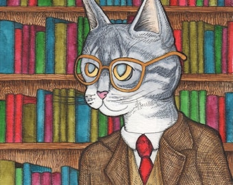 Librarian Cat in Suit and Glasses - Watercolor Painting - Art Print