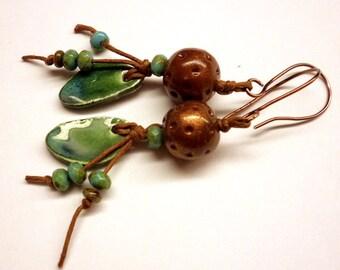 Bohemian Earrings - Green Ceramic Brown Polymer Clay Earrings - Earthy Czech Glass Cotton Cord Copper Earrings - Handmade Jewelry Salakaappi