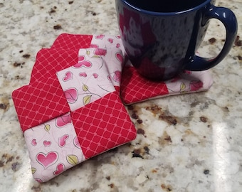 """Valentine Coasters, Fabric, Set of 4, Approx 4"""""""