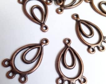 10 connectors drops red copper oval 24x13mm