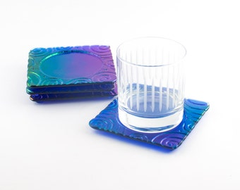 Cobalt Blue Bar Coasters, Iridescent Glass, Imprinted Design, Bar Accessories, Tabletop Decor, Modern Coasters, Cool Gifts for Men