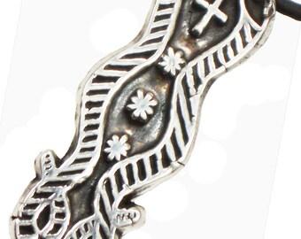 Voodou Veve Damballah Serpents Symbol for Courage - Fine Silver Talisman Pendant - Necklace - Keyring - VooDou Symbol for Courage Pendant