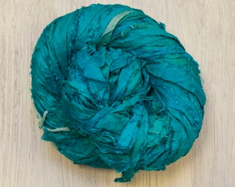 Hand dyed Sari Silk Ribbon Kettle Dyed in Turquoise Worm Goo by PenandHook Skeins in Four Sizes
