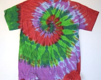 Springtime Sprouts ~ Spiral Tie Dye T-Shirt (Gildan Ultra Cotton Size M) (One of a Kind)