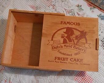 "Rustic WOOD Treasure BOX Sliding Top, Dutch Maid Bakery Ad Sturdy Pine, Handy Food Carrier Keepsake Storage, Unisex Gift, USA Made 9"" sq"