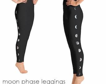3febca4e86 Black Moon Yoga Pants | Black Leggings | Moon Leggings | Black Yoga Pants |  celestial