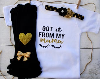 Baby Girl Clothes, Baby Girl Take Home Hospital Outfit, Newborn Girl Outfit, Baby Girl Got It From My Mama Outfit, Baby Girl Hipster Clothes