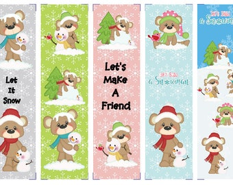 Set of 5 Teddy's Winter Fun Book Marks