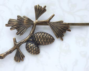 Antiqued Gold Pine Cone & Pine Tree Branch, Bobby Pin, 3 Finishes: Copper, Rose Gold, Silver, Woodland, Rustic, Forest, Wedding, Bridal Hair