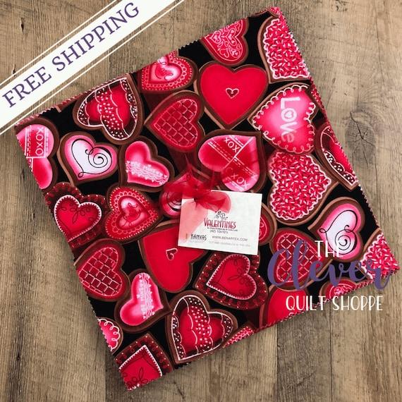 Layer Cake, Valentines, Benartex, Kanvas, Hearts, Pink, Red, Love, Crossword, Lips, Conversation Hearts, Kisses, Be Mine, Valentines Fabric