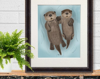 Otter Art Print - Otters in love - Otters holding hands paws Otter print Otter wall art otter illustration wall decor otter gift painting