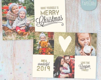 Christmas Card Template - Gold Glitter- Photoshop template - AC065 - INSTANT DOWNLOAD