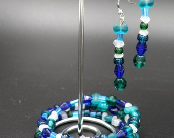 Memory Wire Necklace/Bracelet w/Matching Earrings, in Greens, Blues & White Glass Beads w/Silver Fish Charm