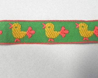 Vintage Yellow and Green Embroidered Chick Ribbon /Easter Chick Jacquard Ribbon Yardage