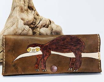 Unique womens leather wallet / Womens leather wallet / Sloth wallet / Animal wallet / Gift for her