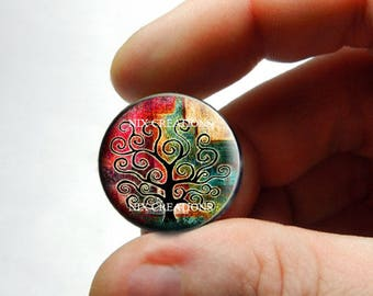 Glass Cabochon - Tree of Life - for Jewelry and Pendant Making