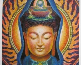 Buddhist Goddess KWAN YIN Meditation Art Buddha poster Zen Buddhism Spiritual print of painting