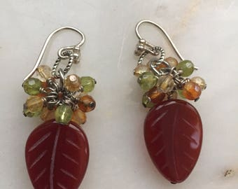 Handmade Sterling Silver Carnelian & Gemstone Earrings
