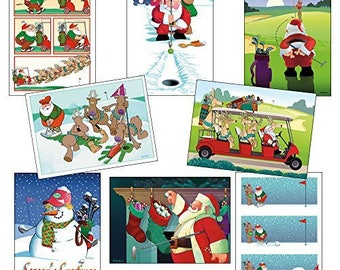 Golf Christmas Card Variety Pack 24 Cards & Envelopes - 82