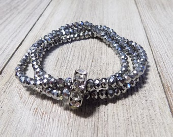silver tone multi strand stretch beaded bracelet