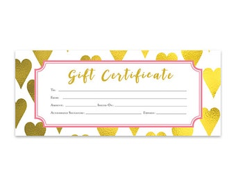 Gold Heart, Heart, Gold Foil, Gift Certificate, Download, Premade Gift  Certificate Template, Printable, Gift Certificate Blank