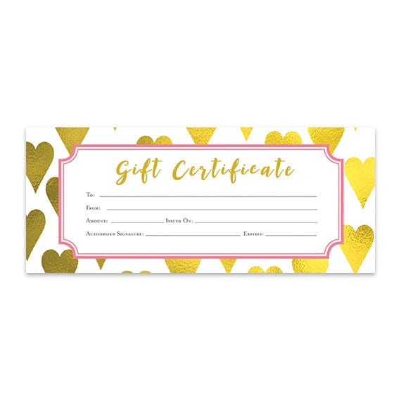 Gold heart heart gold foil gift certificate download gold heart heart gold foil gift certificate download premade gift certificate template printable gift certificate blank yadclub Choice Image