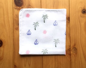 hawaiian handkerchief | tropical island hankie | cotton nose wipe | japanese hand towel | hand printed textile | summer birthday gift idea