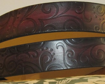 Customizable 1 1/2 inch, Large Swirl Design Leather Work or Casual Belt