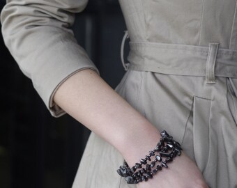 Three Layered Hematite Bracelet with White Gold Plated Hardware and Clasp Closure. Edgy. Modern. Unique. Made to Order.