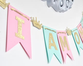 I Am/We Are ONE Banner, Mint Pink and gold, Birthday Banner, Photo Prop, First Birthday