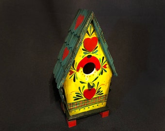 New - YELLOW FANTASY BIRDHOUSE, A Bavarian Inspired Fantasy Decorated Birdhouse